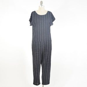 Ace&Jig Navy Checked Voile Loose-Fit Jumper